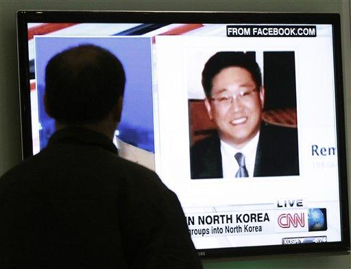 A South Korean man watches a television news program showing Kenneth Bae at the Seoul Railway Station in Seoul, South Korea, Thursday, May 2, 2013.