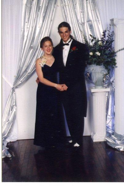"Lila Kitaeff, producer for KUOW's youth media program, and her date Dominic at Garfield's prom, 1996. They almost didn't make the dance; Dominic's ""hoopdiemobile"" (affectionately, his car) wouldn't start after dinner."
