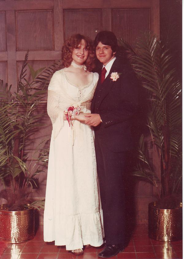 Announcer Lisa Brooks with her date Ralph. They met working summers at Hershey Park. Prom was at a motor inn in Carlysle, Penn. Lisa had a fantastic time!