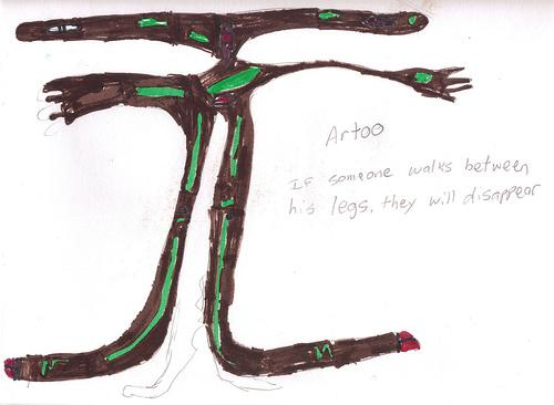 """Brody,"" March 27, 2007. The words read: ""Artoo. If someone walks between his legs, they will disappear."""