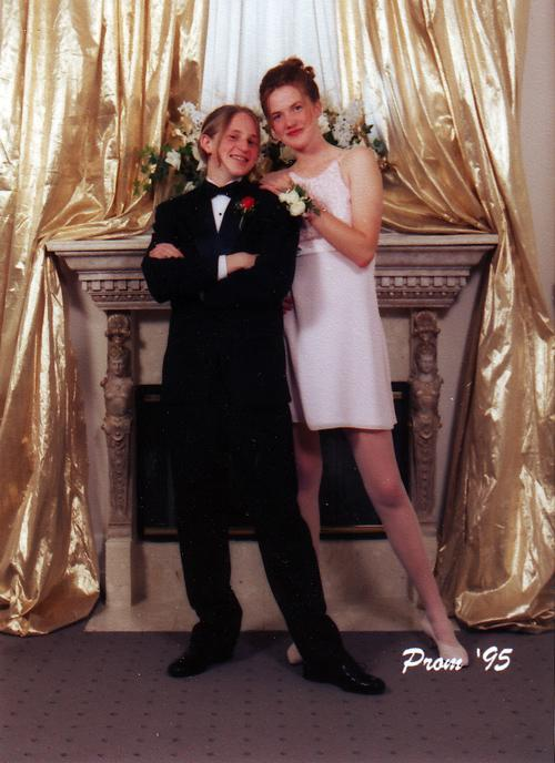 Jenna Montgomery, director of digital media, with her prom date at Garfield High School, 1995. Her heels put her a good half-foot taller than her date. Talk about feeling on top of the world!