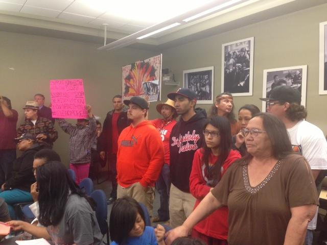 A standing-room only crowd at the May 15 Seattle School Board meeting protested the proposed move of the Indian Heritage program to Northgate Mall.