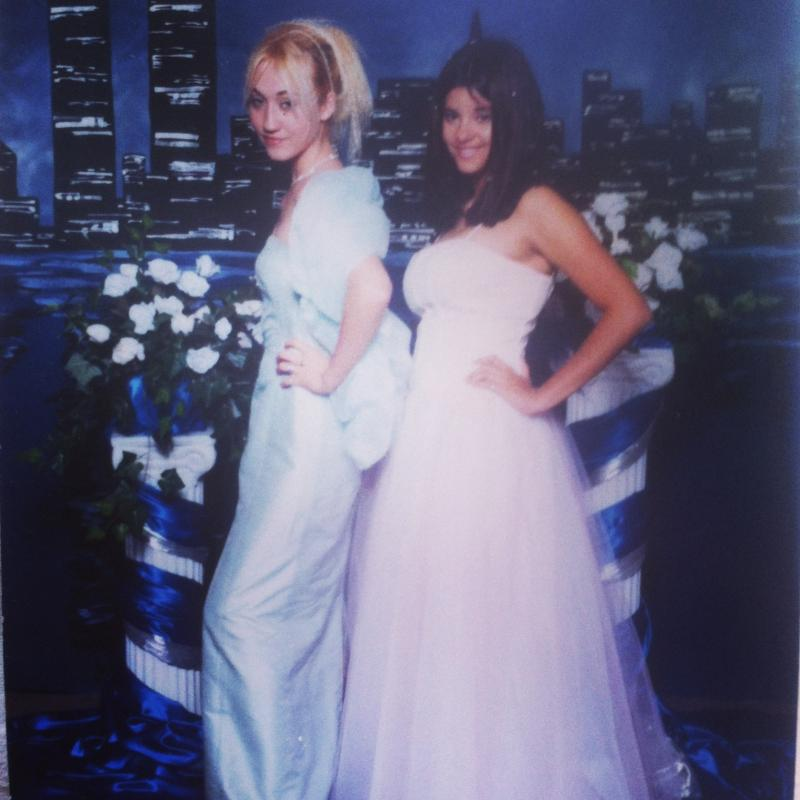 """The Conversation"" producer Arwen Nicks (left) at one of the nine proms she attended (or crashed) throughout high school. Her dress was custom made by a friend for ease in changing her look for each prom."