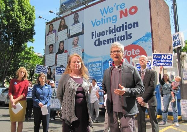 Dentist Jay Levy, organizer Kim Kaminski, and volunteers with Clean Water Portland, which opposed adding fluoride to Portland water.