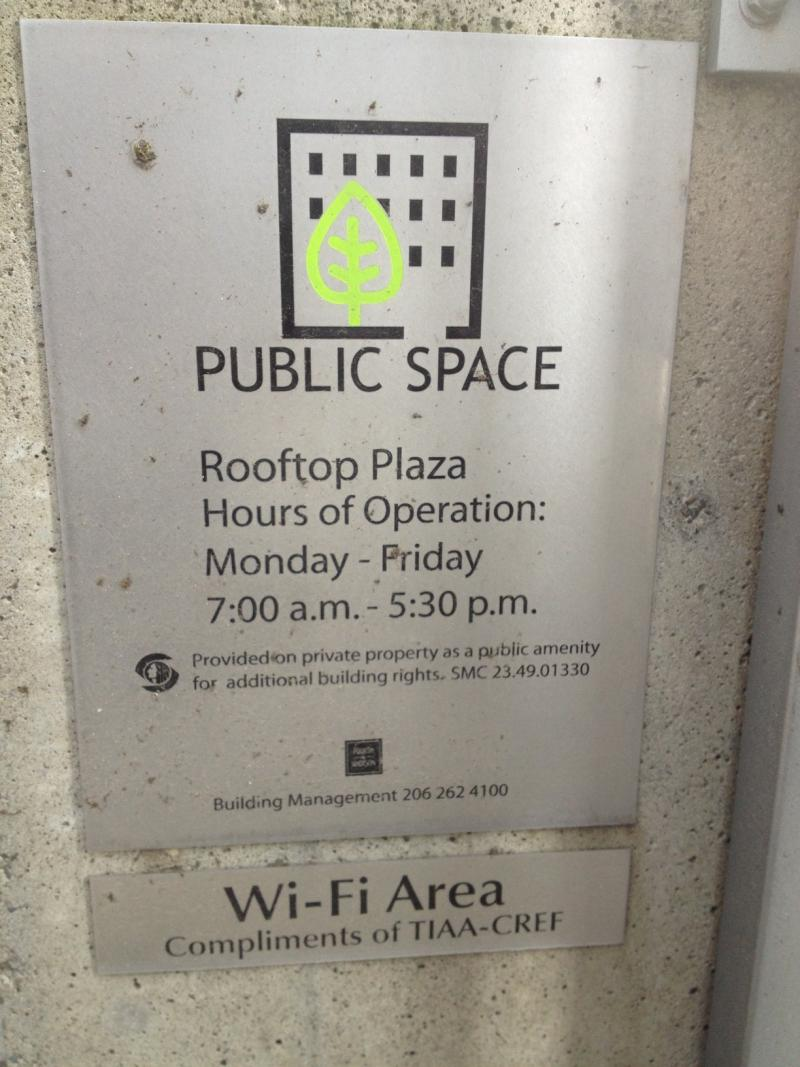 The first time I encountered any indication of the public space was at the 7th floor terrace. In other words, this space is not being advertised.