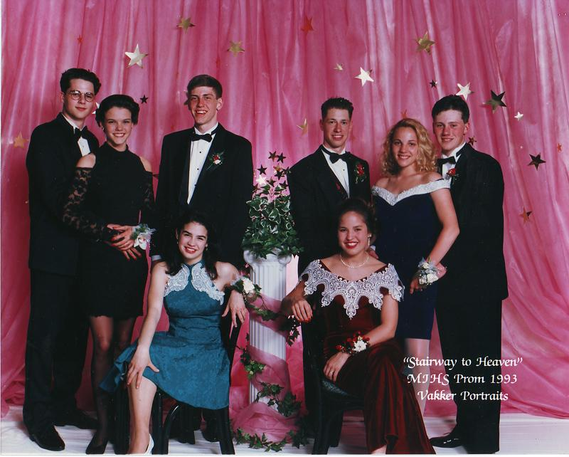 """Weekday"" producer Katy Sewall (seated, left) her sophomore year, with her date, Per, and friends. Mercer Island High School theme in 1993 was the classic ""Stairway to Heaven."""
