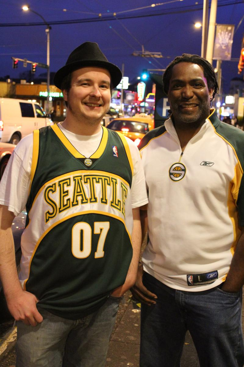 Darian Asplund and Ahkeenu Musa with the band Kore Ionz played a gig in Seattle wearing their Sonics gear, May 15.