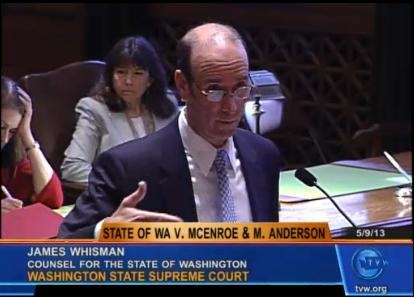 Prosecutor James Whisman delivering oral arguments in State of Washington v. Joseph T. McEnroe & Michele K. Anderson, May 9, 2013.