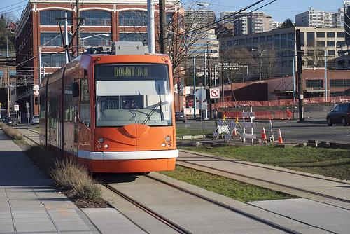 A streetcar in South Lake Union.