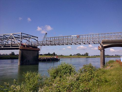 Northeast view of the temporary bridge span