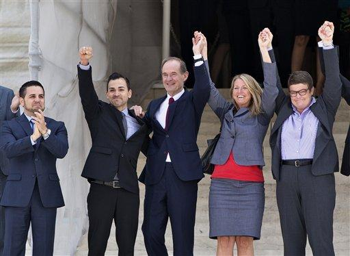 Plaintiffs in the Prop. 8 case, react on steps of the Supreme Court, June 26, 2013, after justices cleared the way for the resumption of same-sex marriage in California. From left: Jeff Zarrillo, Paul Katami, David Boies, Sandy Stier and Kris Perry.