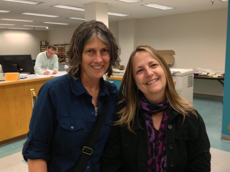 Becky Shaw and Janet Saul at the King County Recorder's Office.