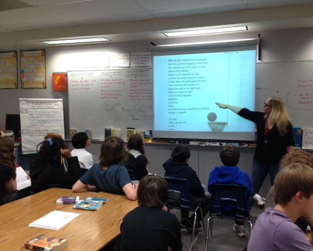 Language arts teacher Christy Bowman-White leads a class at Sylvester Middle School in Burien in a lesson based on the Common Core State Standards.