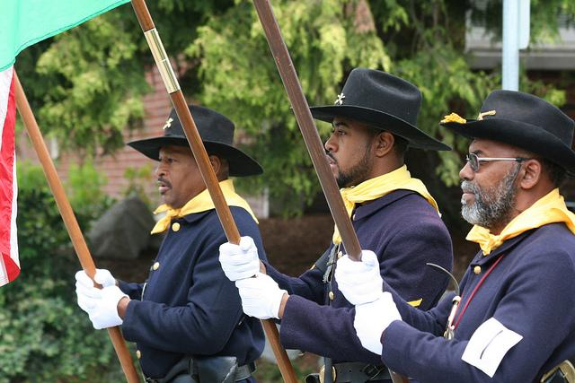 Juneteenth is an official holiday in Texas, but it's celebrated more widely across the country. Here members of Buffalo Soldiers participate in a past Juneteenth parade in Seattle.