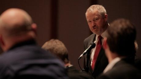 Seattle Mayor Mike McGinn speaks out against coal export terminals at a coal export hearing in Seattle in Dec. 2012.