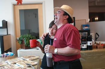 KUOW reporter Ruby de Luna laughs with fellow foodie chef Thierry Rautureau.
