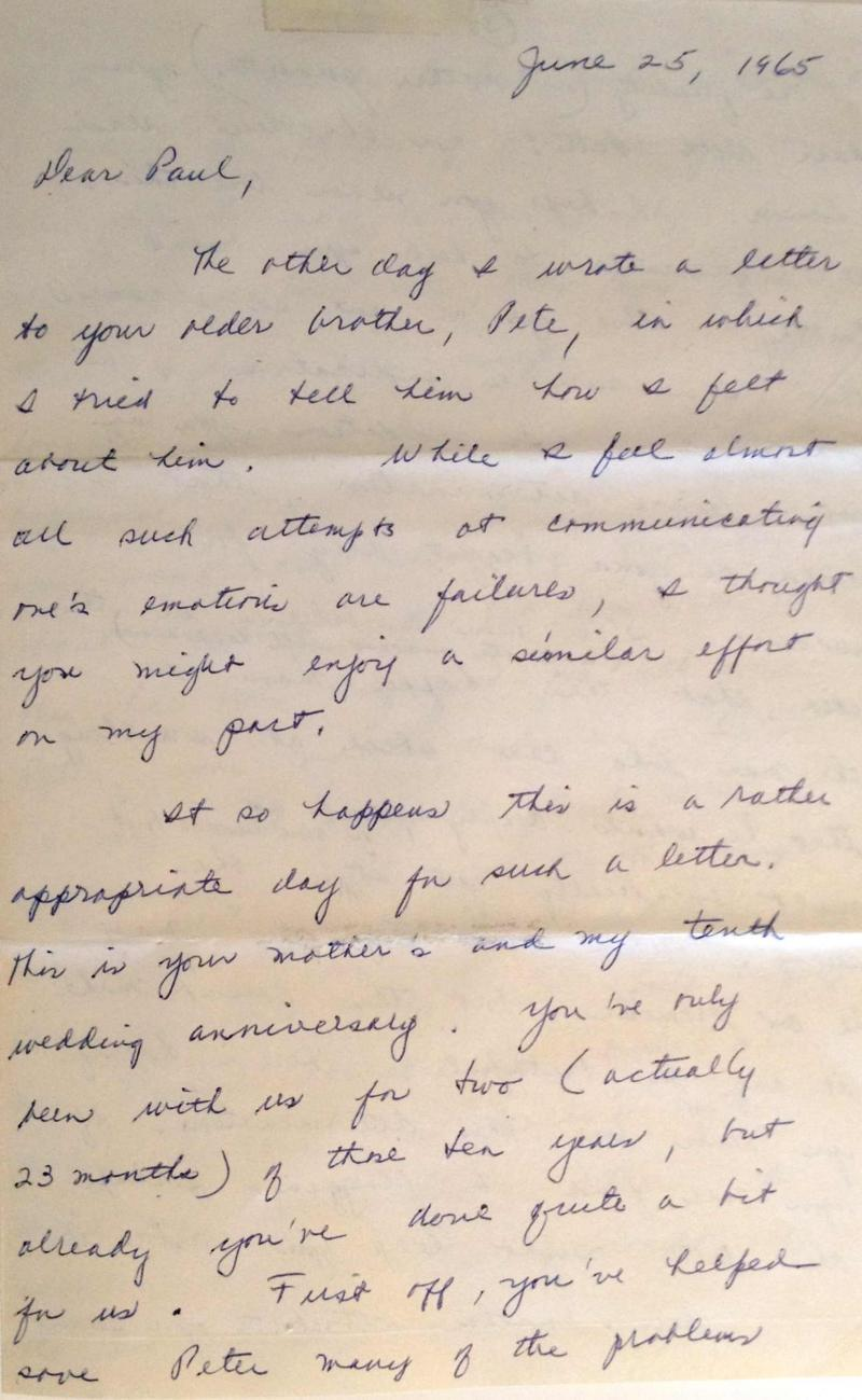 "This letter from Paul Stetler's father inspired his own epistle to his son which also led to the play ""Dear Dad."""