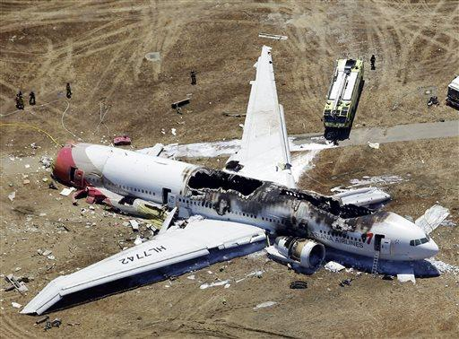 This aerial photo shows the wreckage of the Asiana Flight 214 airplane after it crashed at the San Francisco International Airport in San Francisco, Saturday, July 6.