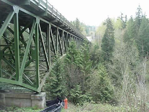 The understruss of the SR 169 span over the Green River was hit twice in 2008, likely by work crews. It is considered a fracture-critical bridge.