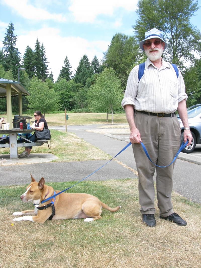 Bob Gerrish and his dog Lola at Big Finn Hill Park in Kirkland.