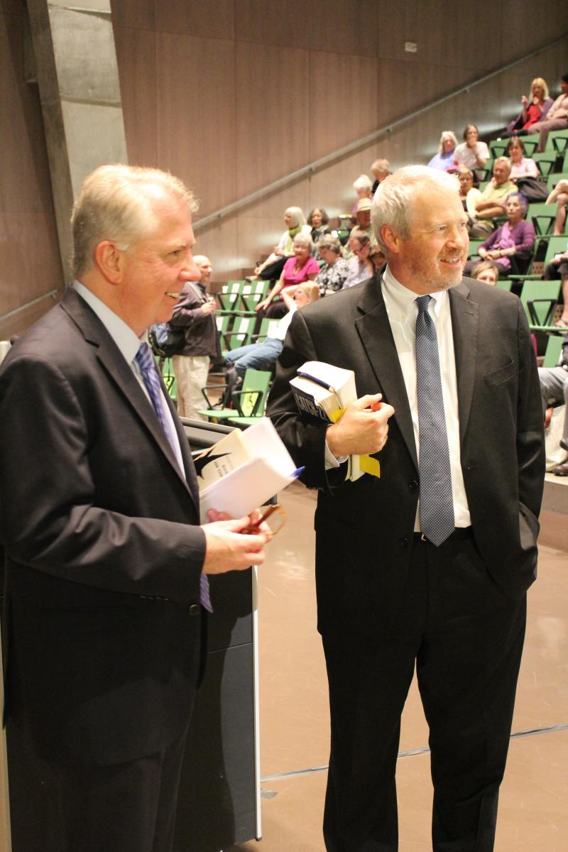 State Senator Ed Murray, left, and Mayor Mike McGinn at a recent candidates' forum.