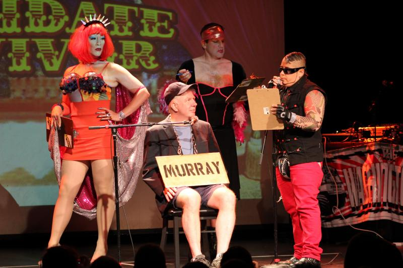 "Mayoral candidate Ed Murray in a skit featuring cross-dressing ""campaign consultants"" during Candidate Survivor Night"