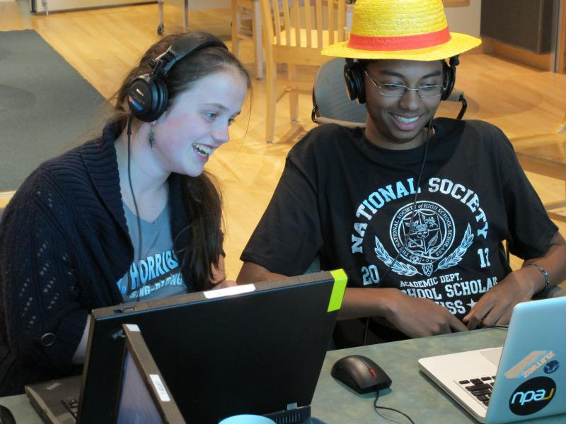 Hosts Madeline Ewbank and Srikar Penumaka editing this podcast.