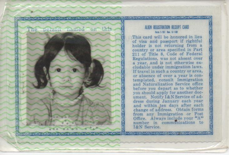 Star Rush's alien resident card from when she immigrated to the US from Vietnam in 1972.