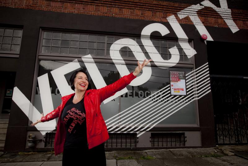 Tonya Lockyer in front of Velocity Dance Center.