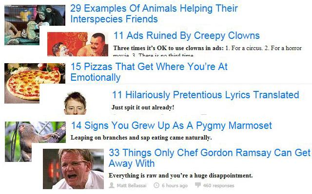 A collection of headlines from the internet site Buzzfeed shows the variety of ways people enjoy lists.