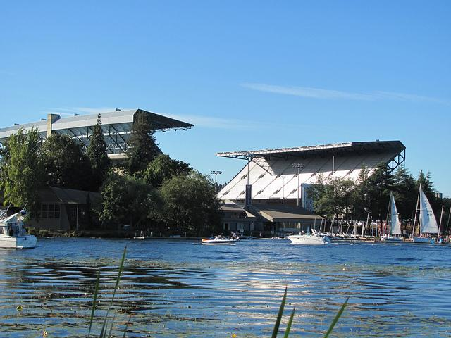 Husky Stadium viewed from Lake Washington