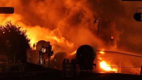 Freight train burning in Lac-Megantic, Quebec, Canada.