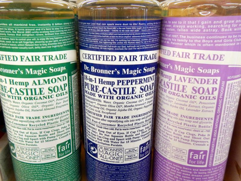 The busy labels of Dr. Bronner's Magic Soaps