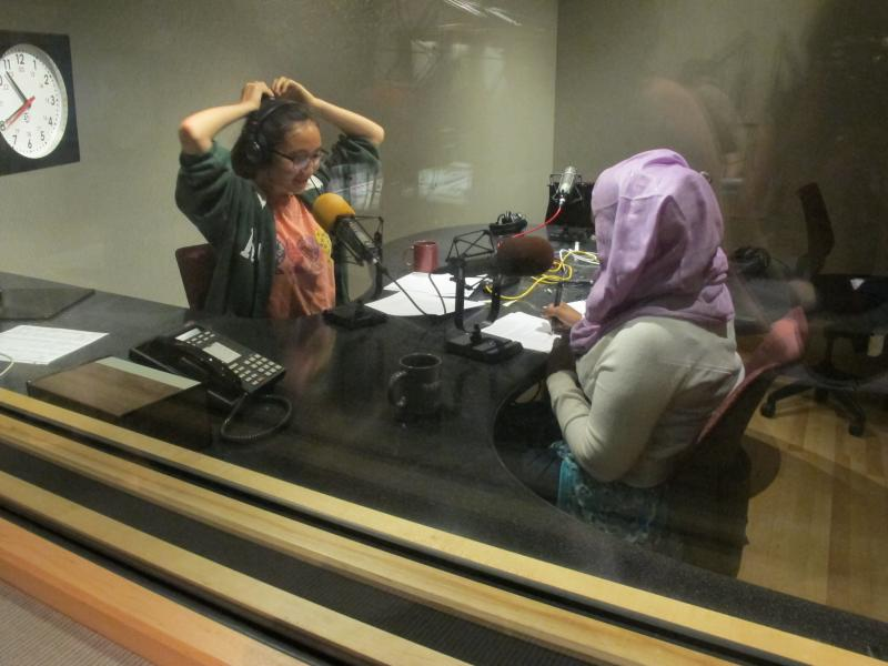 Hosts Rachel Lam and Amina Ibrahim recording this podcast.