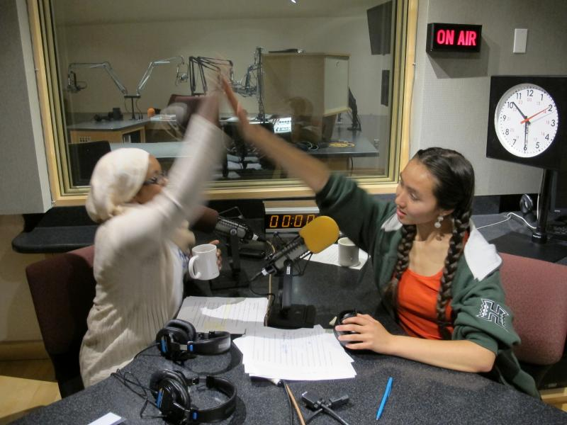 Hosts Amina Ibrahim and Rachel Lam congratulate each other on finishing today's podcast.