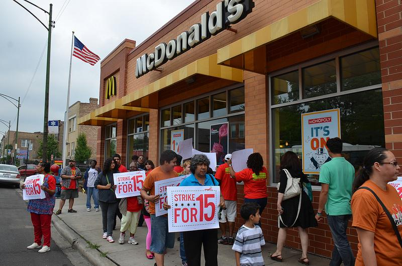 Wage strike at McDonald's in Chicago, July 31, 2013.