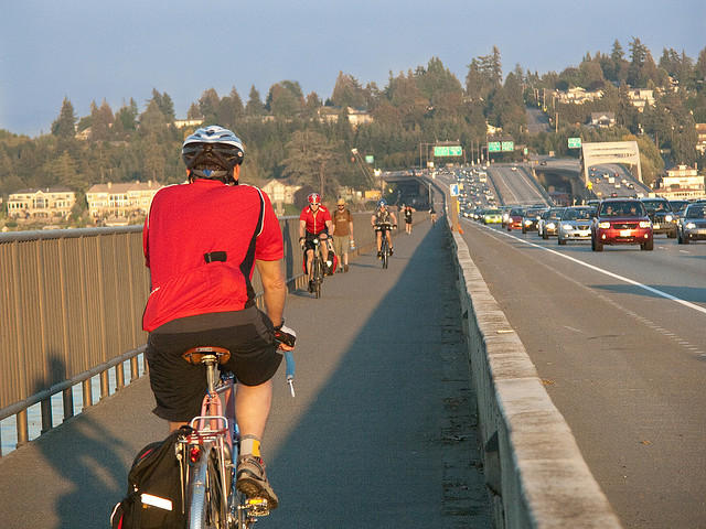 A cycle track puts a physical barrier between bicyclists and car traffic.