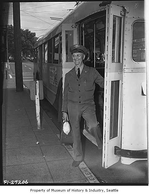 Bus driver Ben Shinolt in Seattle 1954. Our area has been served by some great transit operators, share your stories with us.