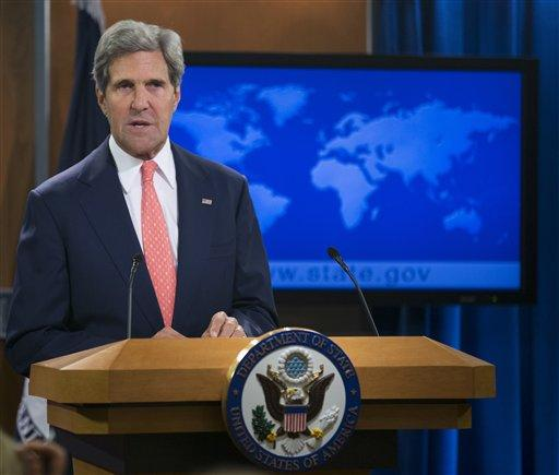 Secretary of State John Kerry speaks at the State Department in Washington today about the situation in Syria.