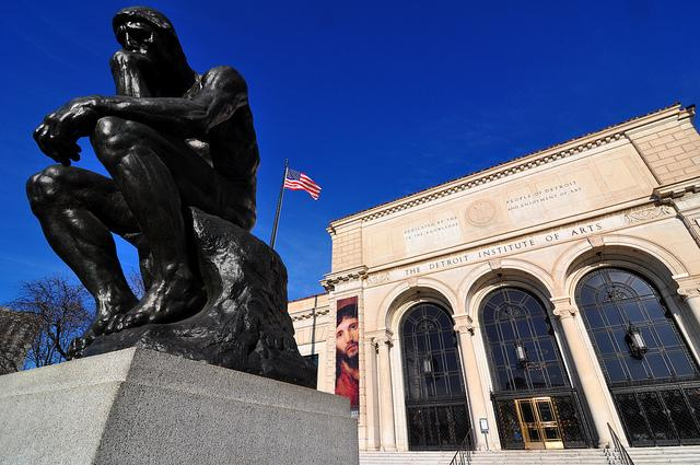 """The Thinker"" outside the Detroit Institute of Art."