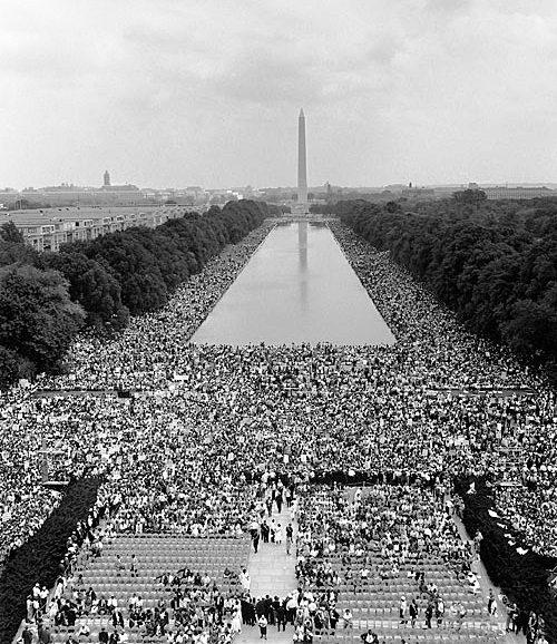 Hundreds of thousands descended on Washington, D.C.'s, Lincoln Memorial August 28, 1963.