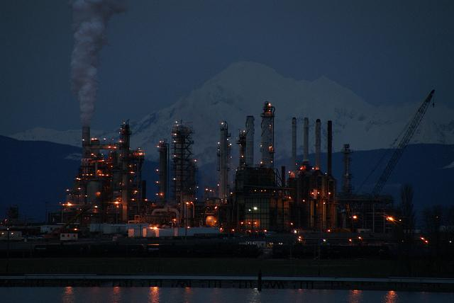 The oil refinery in Anacortes, Wash., with Mt. Baker in the background.