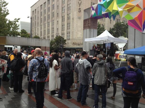Wage strike in downtown Seattle on a rainy morning, August 29, 2013.
