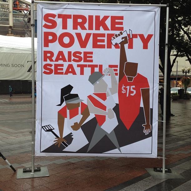 Strikeline sign, downtown Seattle, August 29, 2013.