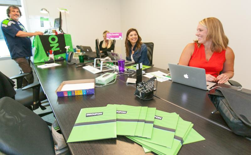 The in-house recruitment team at Groupon in Seattle. Five full-time recruiters have helped hire 130 new staff members since spring of 2012. The company's Pioneer Square offices are now packed, but it continues to hire.