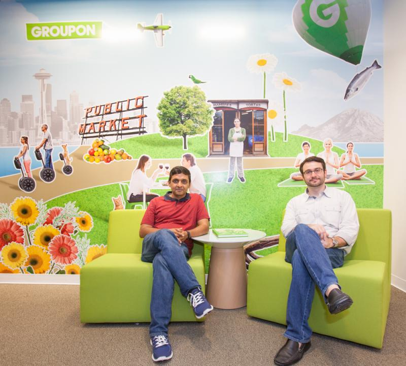 Vinayak Hegde, vice president of engineering, and Rich Williams, senior vice president of marketing for Chicago-based Groupon. Both men once worked for Amazon, and they have recruited a number of former Amazon employees to work in the new Seattle office.