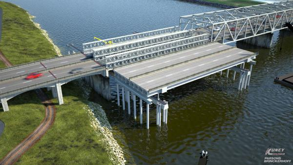 Computer simulation of completed replacement Skagit River bridge (foreground) adjacent to temporary bridge. The replacement will slide into the temporary site once work is completed.