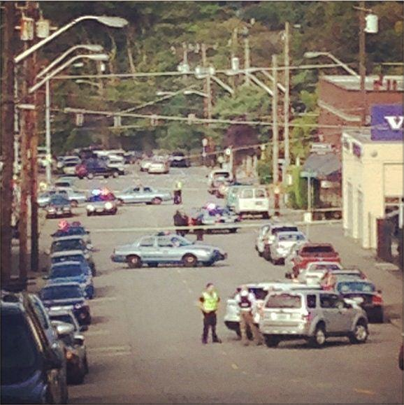The scene of a shooting in Seattle's Ravenna neighborhood Tuesday morning.