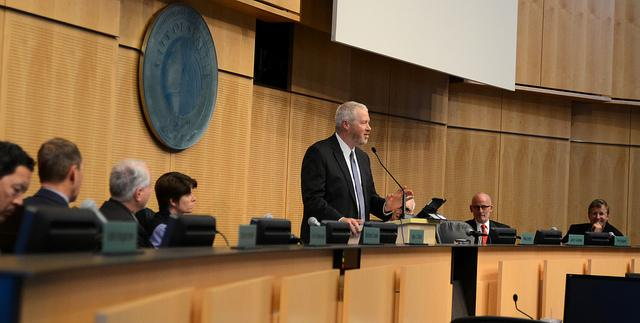 Seattle Mayor Mike McGinn delivering his 2014 budget address in Seattle City Council chambers.