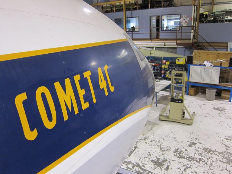 A DeHavilland Comet is undergoing restoration in Everett.